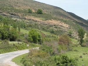Svah pred dedinou Jalón de Cameros.