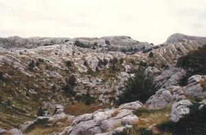 Lievikovita jama. Na dne sa hromadí zvetralá zemina, ktorá sa časom premení na úrodne políčko, Biokovo 17.9.2004.