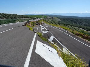 Zosunutá cesta pred Villacarrillo.