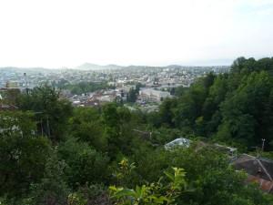 Výhľad na Kutaisi z hotelu Gora.