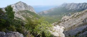 Špička vľavo je kopec Viter 769 m.n.m., pohľad na sever, 24.07.2017, 08:38 hod.