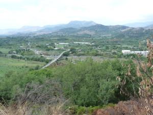 Údolie potoka Fiume Alcantara od mesta Castiglione di Sicilia.