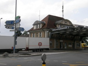 Hraničný prechod medzi Rakúskom a Švajčiarskom - St. Margrethen.