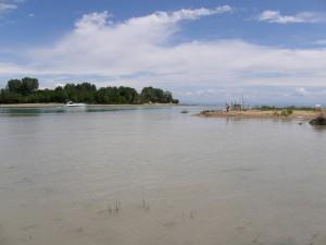 Vtok rieky Fiume Tagliamento do mora