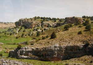 Skalné steny 400 m južne Calataňazoru. Vo vzdialenejších stenách hniezdia supy. Vľavo dole pri potoku žili Psammodromus algirus, na vrchle kopcov Lacerta lepida ( jašterice perlové ).