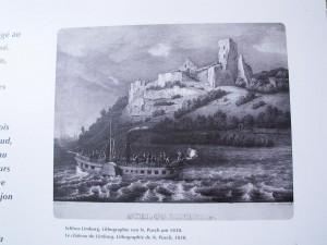 Hrad Limburg z roku 1830. Dnes sú vidieť z hradu iba dve menšie a jedna väčšia stena. Okolo hradu a na vrchole kopca je vysoký listnatý les. Foto 04.07.2010