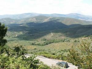 Sierra de la Peňa de Francia, pohľad na juh z vrcholu Buenabarba 1728 m.n.m.
