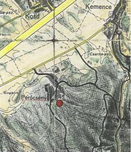 ...Perőcsény - miesto nájdenia salamandier škvrnitých, Salmandra salamandra. Mapa 1:50 000...